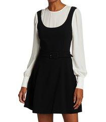 cinq à sept women's leila long-sleeve skater dress - black ivory - size 8