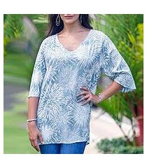 rayon tunic, 'grey dandelion' (indonesia)