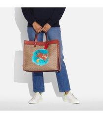 coach women's cny ox print field 40 tote bag - tan rust