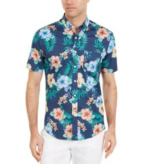 club room men's dot floral tropical print short sleeve shirt, created for macy's