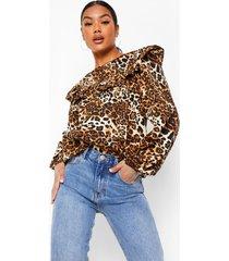 luipaardprint blouse met geplooide zomen, brown