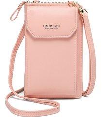 bolso de embrague con correa ajustable y diseño informal con cremallera