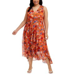 calvin klein plus size floral chiffon surplice midi dress