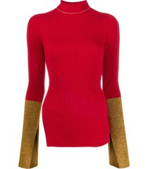 moncler genius 1952 ribbed contrast cuff sweater - red