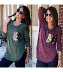 2017 autumn women long sleeve round neck pocket sequins leisure t shirt