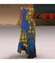 zanzea verano de las mujeres sin mangas maxi largo vestido de tirantes imprimió el vestido de la vendimia de bohemia -azul oscuro