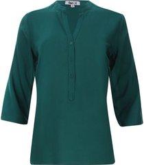 blusa unicolor verde color verde, talla xs