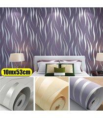no tejido 10m wave 3d papel tapiz de fondo de la raya de la media luna rollo de papel de pared decoración para el hogar (n pegamento) - púrpura