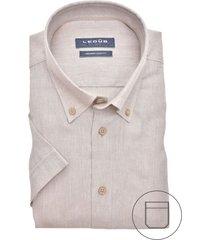 korte mouwen overhemd ledub beige modern fit