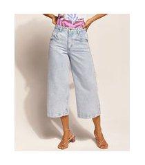 calça jeans feminina emi beachwear pantacourt cintura alta azul claro