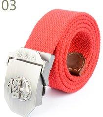 cinturón de hombres, correa de lona versátil casual-rojo