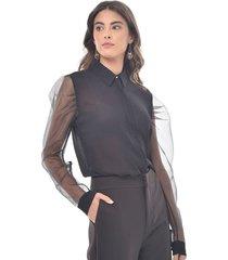 camisa para mujer en chiffon crepe color-negro-talla-s