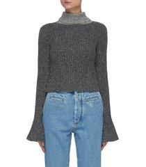scarf detail flare cuff wool blend sweater