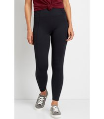 maurices womens high rise black ruched side luxe pocket leggings