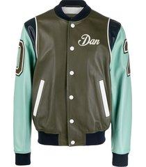 dsquared2 dan colour block varsity jacket - green