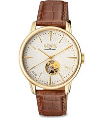 gevril men's mulberry stainless steel & leather-strap watch