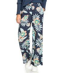 women's roxy midnight avenue wide leg floral pants, size small - blue