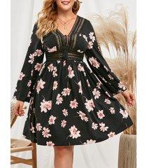 floral crochet trim tassels tie collar plus size dress