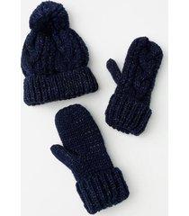 lori hat and mitten set - navy