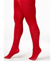 berkshire plus size tights sz q petite red ribbed textured the easy on 5038
