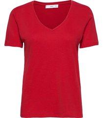 short sleeve cotton t-shirt t-shirts & tops short-sleeved röd mango