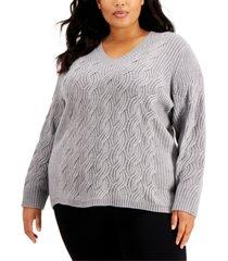 calvin klein plus size chain-stitch sweater