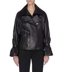 detachable collar ruched sleeve leather jacket