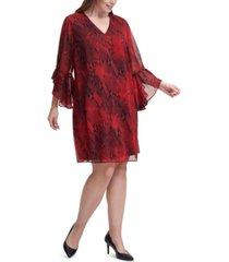 calvin klein plus size snake-print a-line dress