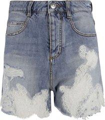 floral lace applique shorts