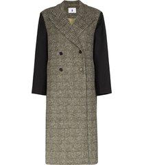 asai oversized panelled checked coat - black