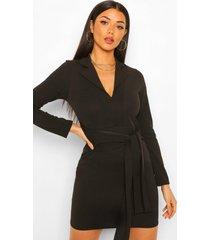blazer jurk met ceintuur, black