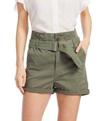 frame women's safari belted shorts - green - size 26 (2-4)
