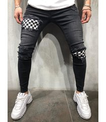 hombres streetwear parches a cuadros ripped skinny stretch jeans