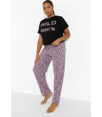 plus luipaardprint wild night pyjama set, purple