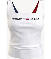 tommy hilfiger women's square-neck colorblock tank sweater bright white - s