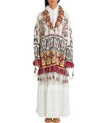 etro jacquard knitted cardigan with tassels
