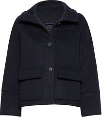 d1. wool blend cropped jacket wollen jack jack blauw gant
