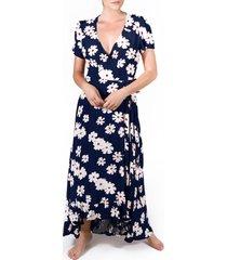 women's lira hadley floral maxi wrap dress, size large - blue