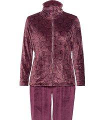 decoy velour homewear set pyjamas röd decoy