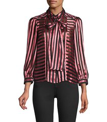 striped puffed-sleeve top