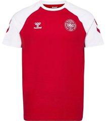 dbu fan 2020 cot. tee s/s t-shirts football shirts röd hummel