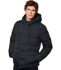 blue hooded down padded jacket