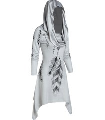 hooded feather print convertible dress