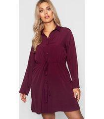 plus blouse jurk met touwtjes, wijn