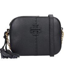 tory burch camera bag shoulder bag in black leather