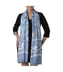 batik rayon scarf, 'bird home in cadet blue' (thailand)