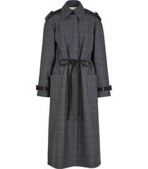 fendi tie fastening trench coat - grey