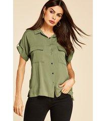 yoins botón de cuello de solapa verde militar diseño blusa con bolsillos
