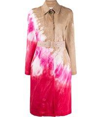 msgm tie-dye print trench coat - neutrals