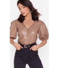 womens puff shoulder faux leather shirt - mushroom
